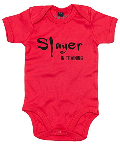 Onesie Slayer (Slayer in Training, Baby Grow - Red/Black 3-6 Months)