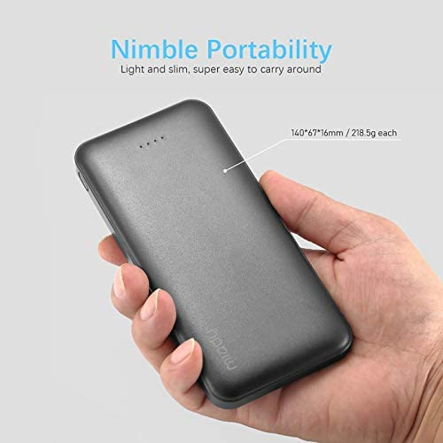 2-Pack Miady 10000mAh Dual USB Portable Charger, Fast Charging Power Bank with USB C Input, Backup Charger for iPhone X, Galaxy S9, Pixel 3 and and so forth …
