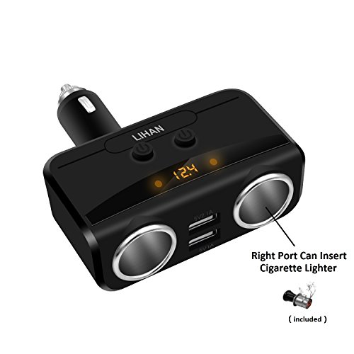 Car Charger Adapter, 2 Socket Cigarette Lighter Power& Dual USB Outlet Splitter with 12/24V Voltage Display Compatible for iphone,ipad,tablet,Galaxy,HTC,LG (Black) (Lighter Cell Universal Socket Phone)
