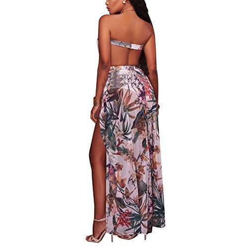 Maxi Strapless Aro Dress Printed Lora Long White Party Beach Backless Women's Slits qwz7FwI