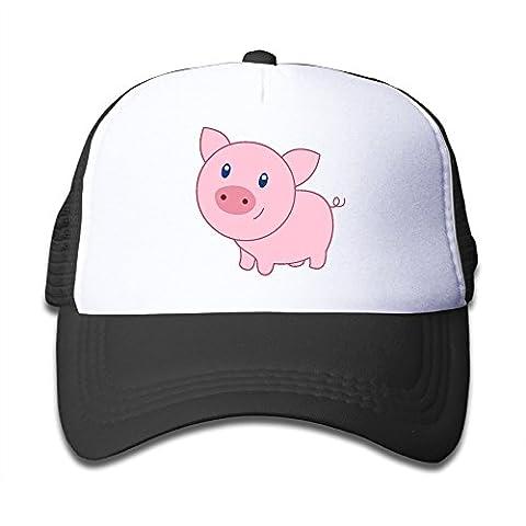Kid's Cute Cartoon Pig Trucker Mesh Baseball Cap Hat Trucker Hats Black - Pink Pig Hat