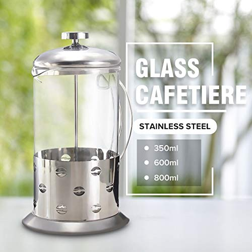 Best Quality - Coffee Pots - Manual Coffee Espresso Maker Pot Stainless Steel Glass Teapot Cafetiere French Coffee Tea Percolator Filter Press Plunger - by Tini - 1 PCs (Best Price Coffee Machines Australia)