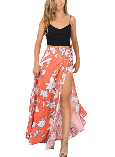 HOTAPEI Summer Floral Chiffon Skirt Cover Up Long Skirts for Women With Slit Orange Large (Wrap Skirt)