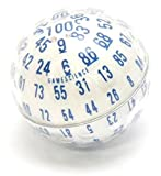Opaque ''Zocchihedron'' White with blue 100-sided Die