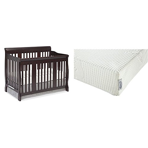 Stork Craft Tuscany 4-in-1 Convertible Crib, Cherry with Graco Natural Organic Foam Crib and Toddler Mattress -