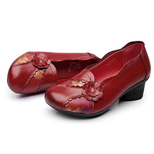 le dernier cb6e7 6250f Socofy Mocassins Femme, Chaussures de Ville en Cuir à Fleurs ...