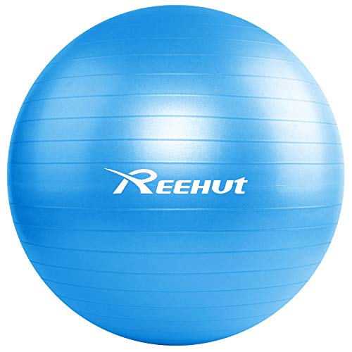 REEHUT Anti-Burst Core Exercise Ball w/Pump & Manual for Yoga, Workout, Fitness (Blue, 55cm)