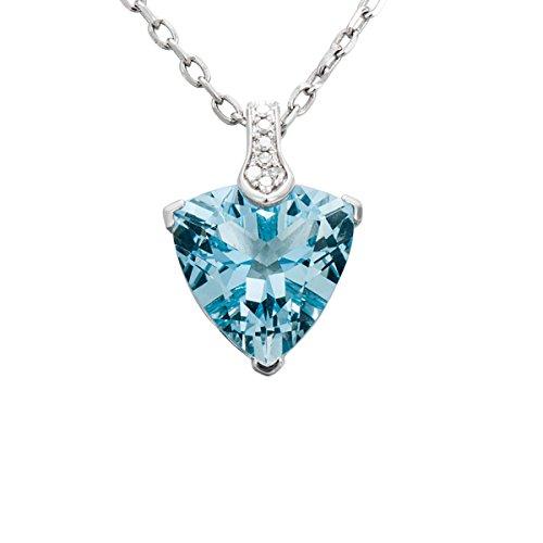 Hutang Pierre précieuse massif Or blanc 18ct véritable diamant et 3.01CT aigue-marine Pendentifs et colliers pour femme fine Diamond-jewelry
