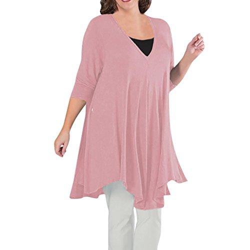 V mujer camisetas XXXXL Rosado L tapas cuello tamaño suelto suelta gran blusas OverDose g46qEwxqt