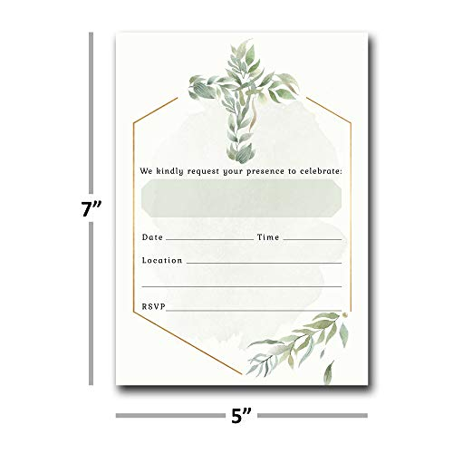 Religious Invitations - Boys or Girls - 20 Fill-in Cards with Stickers & Envelopes for Baptism, Christening, First Communion, Confirmation, 5 x 7 Inches by Nora's Nursery (Image #3)