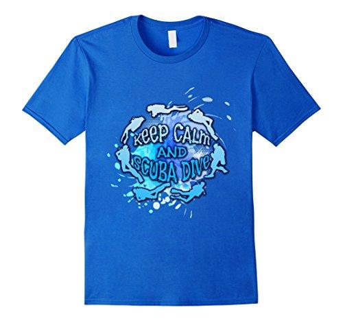[Men's Keep Calm And Scuba Dive T-Shirt Small Royal Blue] (Scuba Diver Costumes)