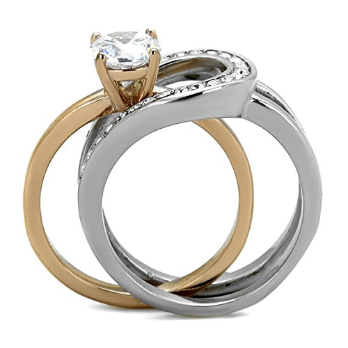 FlameReflection 1Ct Round Cut Two Toned Stainless Steel 2 Piece Wedding Ring Set Women's size 7 SPJ by FlameReflection (Image #2)'