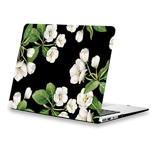 Rubberized White Flowers Design - Lapac MacBook Air 13.3 Inch Case Floral, White Flowers Case for MacBook Air 13.3 inches Model:A1369/A1466 Released Year 2010-2017, Black Rubber Coated Soft-Touch Hard Shell Case with Keyboard Cover