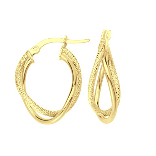 HOOP EARRINGS, 10KT GOLD INTERTWINED PLAIN & TEXTURED TUBE HOOP by DiamondJewelryNY