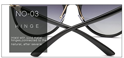 de Regalos Nuevo Las Ador Negro de Dise cristalina Pynxn Negro de Mujer UV400 Calidad Templo Sol de Metal de Mujeres del polarizado Espejo Gafas Pakcaged Las Gafas Espejo Upp7qvB