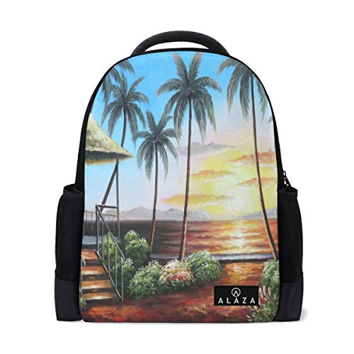 Travel Laptop Backpack Women Print Bookbags Hawaii Straw Hut with Palm Trees On Sunset School College Student Daypack for Girls Teenage