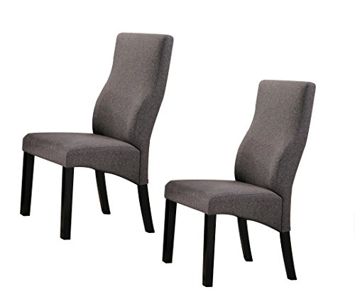 Kings Brand Cappuccino/Grey Upholstered Parsons Dining Chairs, Set of 2