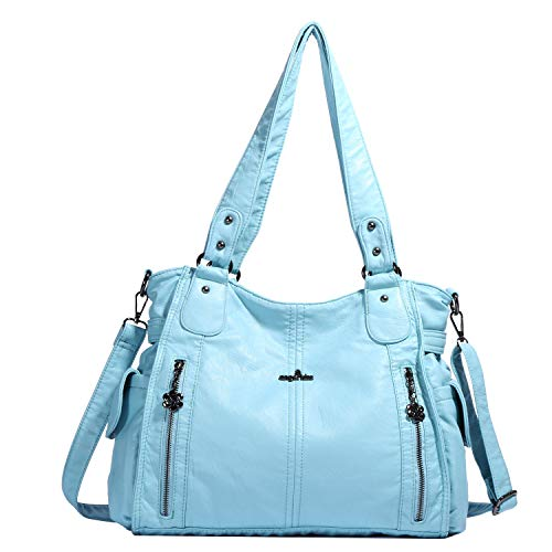 (Handbag Hobo Women Shoulder Bag/Handbag Roomy Multiple Pockets Fashion PU Tote, L.blue-881)