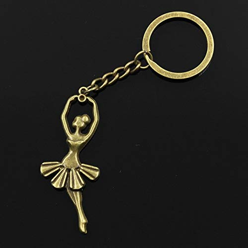 (Mct12-30mm Key Ring Metal Key Chain Keychain Jewelry Antique Silver Plated ballet dancer ballerina 61x24mm Pendant)