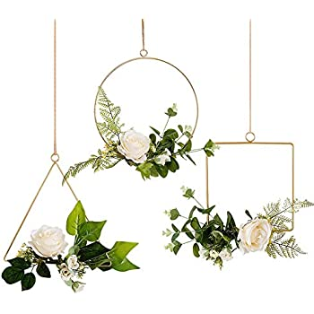 MQ Floral Hoop Wreath, Set of 3, Artificial White Roses with Metal Ring for Home, Backdrop, Wedding Decor, Rust Prevention Process, Easy to Install (White Rose)