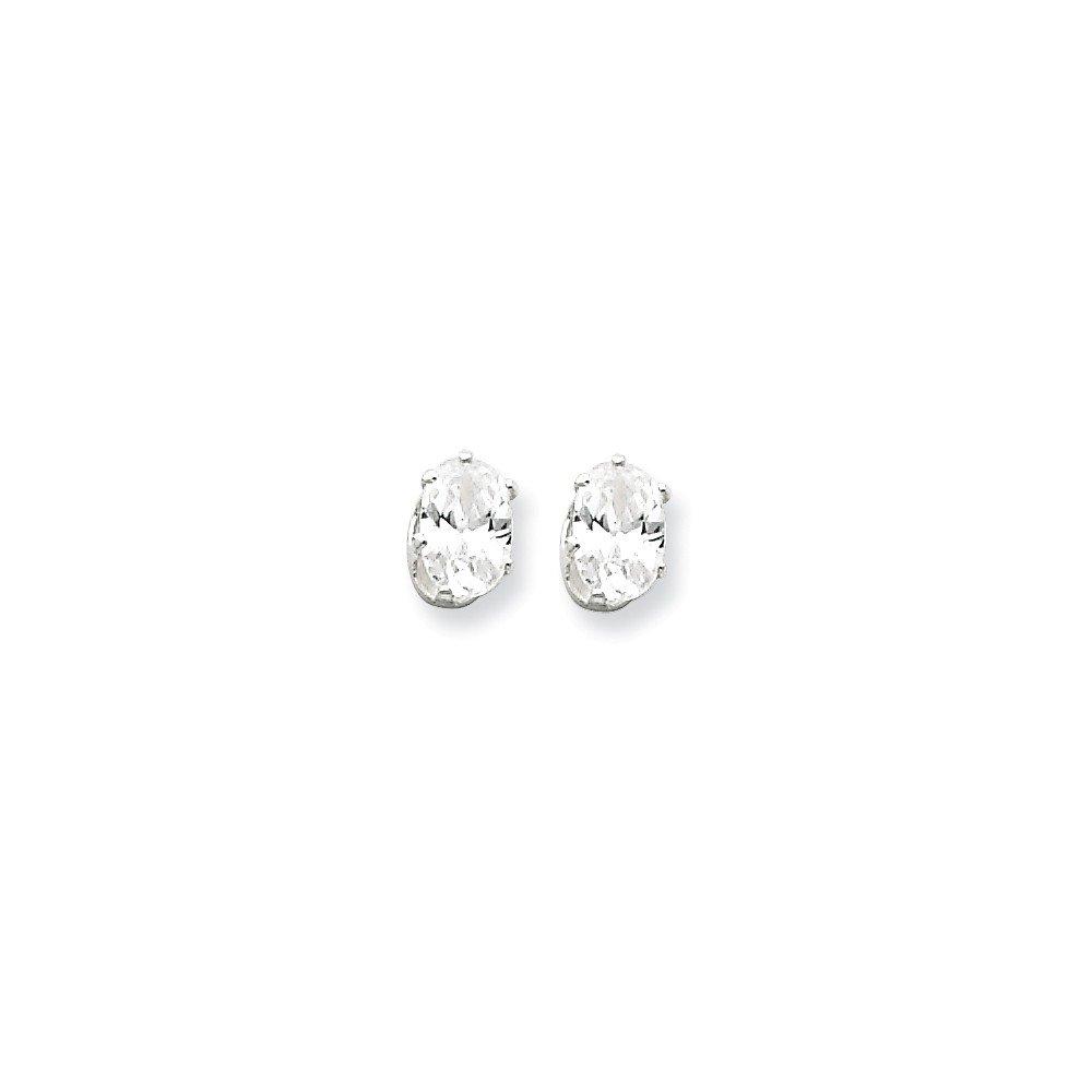 .925 Sterling Silver 6 MM 6x4 Oval CZ Snap-In Post Stud Earrings