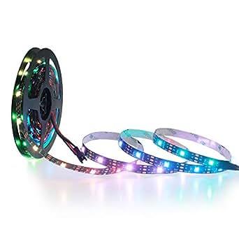 ALITOVE WS2812B Individually Addressable LED Strip 16.4ft 150 SMD 5050 RGB LED Pixel Flexible Light Non-waterproof Black PCB