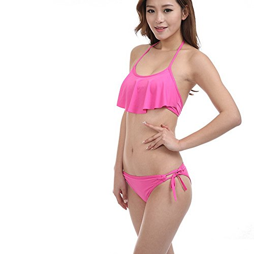 Daxiang Conservative Pure cover-up Women Bikini Swimsuit Hot Pink Free Size