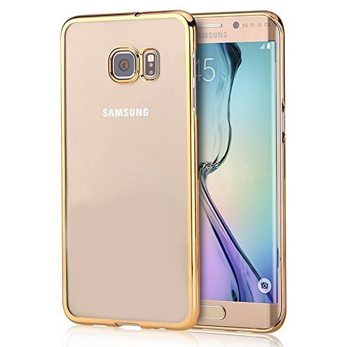 Samsung Galaxy S6 edge +/PLUS Case,Kartice(TM) Luxury Stylish Design Hard Electroplated Ultra Thin Slim Case Cover Transparent Crystal Clear Hard Back Case,Scratch Resistant--Gold