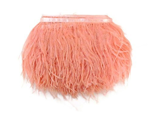 MELADY 2 Yards Fashion Dress Sewing Crafts Costumes Decoration Ostrich Feathers Trims Fringe with Satin Ribbon Tape (Pink-Peach)