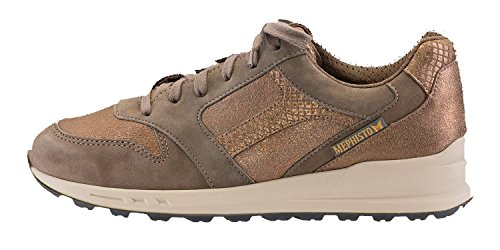 Mephisto Womens Cross Lace-up Shoes Bucksoft In Peltro / Dark Taupe Fashion / Bronze Reflet