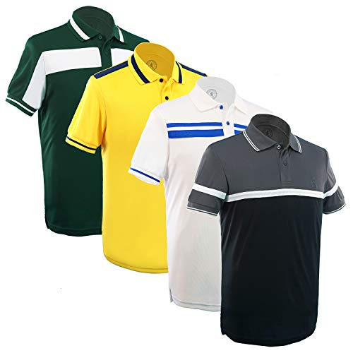 Albert Morris Mens Striped Short Sleeve Polo Shirts 4 Pack Hipster Pack, (XX-Large)