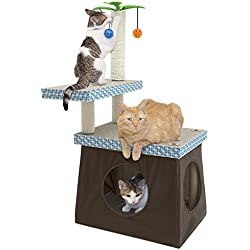 Kitty City Play Perch Scratching Post, Pet Activity Center, Multicolor