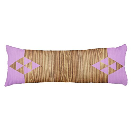 UOOPOO Purple Minimalist Design With Wood Polyester Body Pillow Cover Square 20 x 54 Inches for Bed Print on Twin Sides