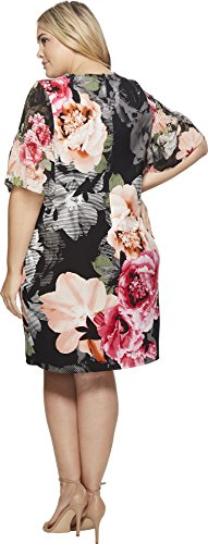 black Womens Size Plus flower Gathered Klein Calvin Dress Sleeve Plus Printed xnAzTza