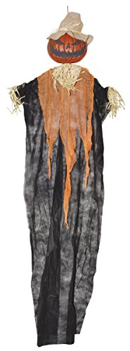 Pumpkin Scarecrow (6-Foot Hanging Pumpkin Man Scarecrow Figure - Hanging Halloween)