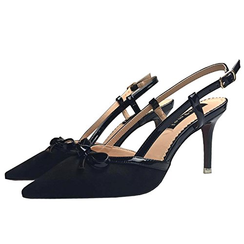 Los zapatos High-Heel punta fina con las sandalias Elegante y versátil solo zapatos, Negro,35