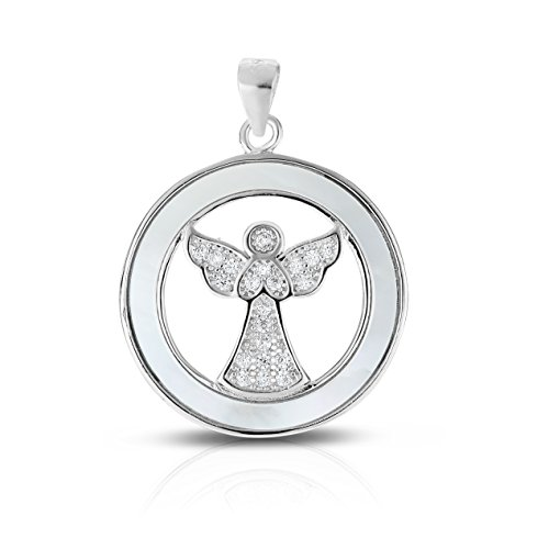 Sterling Silver Cubic Zirconia Simulated Mother of Pearl Open Wings Guardian Angel Pendant. (Natural Silver) ()
