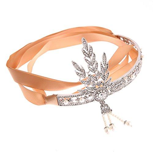 Comprame 1920's Great Gatsby Vintage Style Pearl Crown Charleston Bridal Headband + Diamond Ring - Headwear Charleston