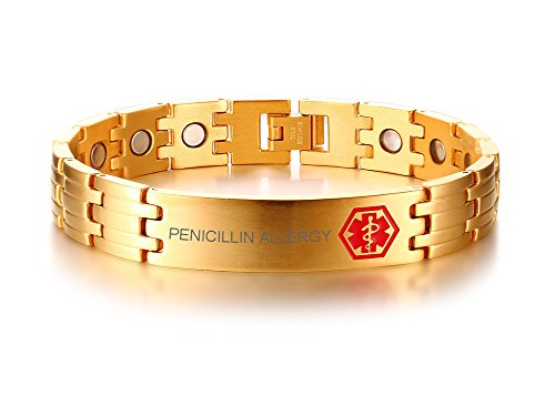 (VNOX Gold Plated Stainless Steel PENICILLINAllergy Medical Alert ID Healthy Magnetic Therapy Adjustable Bracelet,8.3