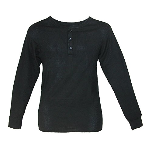 (Hanes Men's Thermal 3 Button Henley Insulated Shirt, Large, Black)