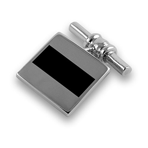 Sterling silver Clip link onyx Box Tie Cufflinks chain Set q1pCqwfR