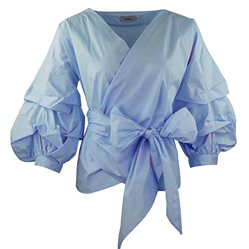 AOMEI Blue Color Women Spring Summer Blouses with Puff Sleeve Sashes Shirts Tops Size L