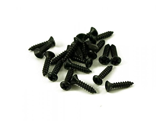 Black Pickguard Screws (50 Pack Guitar Pickguard Backplate Jack Plate Screws Black Finish 11mm X #4)
