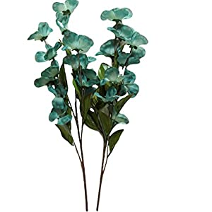 Silk Blue Green Dogwood Flower Stems, 2 Pack, 24 Inches, 12 Blooms on Each stem, Vases, Floral Arrangements 2