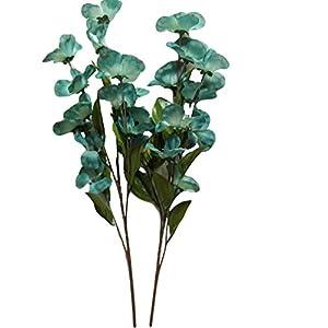 Silk Blue Green Dogwood Flower Stems, 2 Pack, 24 Inches, 12 Blooms on Each stem, Vases, Floral Arrangements 7