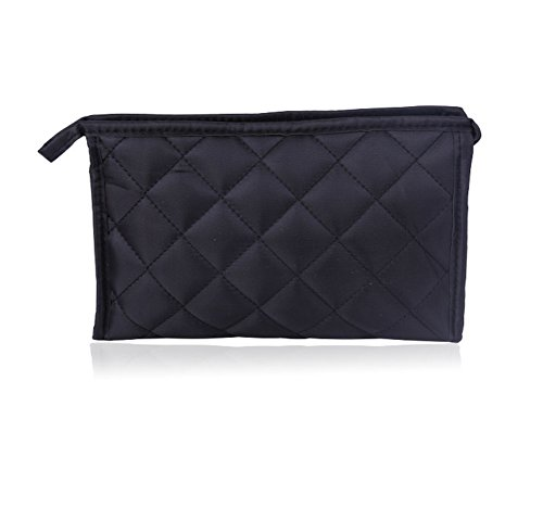 Micom Women Zipper Closure Rectangular Makeup Purse Quilted Cosmetic Bag Case with Mirror for Women (Cosmetic Quilted Bag)