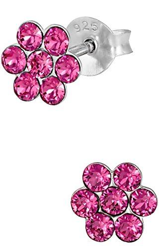 Hypoallergenic Sterling Silver Pink Crystal Flower Stud Earrings for Kids (Nickel Free)