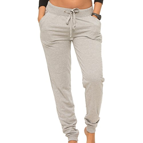 [E308P-HG-XL] Coco-Limon Womens Jogger, Fleece, Rib Trimming, Side Pockets, Heather Grey, X-Large -