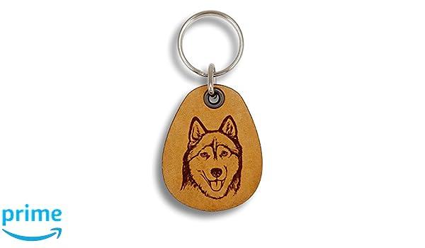 ForLeatherMore Pet Key Fobs Genuine Leather Keychain Husky