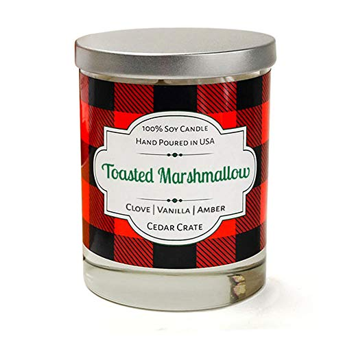 Cedar Crate Market Toasted Marshmallow, Buffalo Plaid Candle, 100% Soy Marshmallow Candle Scented with Clove, Vanilla, Amber, Hand Poured in The USA ()